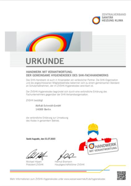 Urkunde ZVSHK-Hygienekodex